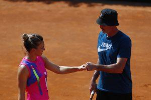 Simona Halep con coach Darren Cahill (foto Getty Images)