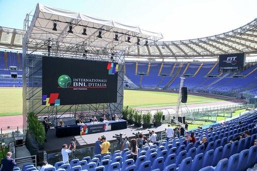 Conferenza stampa IBI 2020: il palco allo Stadio Olimpico (foto Sposito)